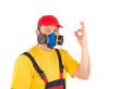 Worker in gas mask.
