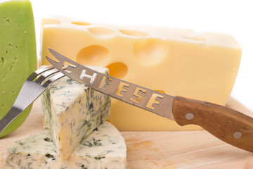 Delicious cheese and knife