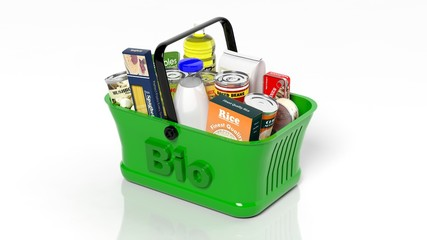 Green shopping hand basket with organic groceries