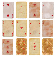 collection old used playing card of hearts paper backgrounds