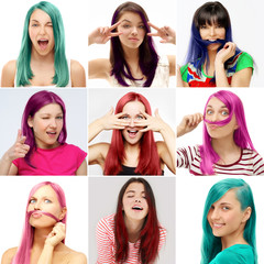 Street style-colored hair.Turquoise,Lilac,Pink,Blue
