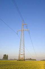 electricity high voltage metal pole  on summer farmland field