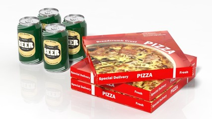 3D beer cans and pizza boxes isolated on white