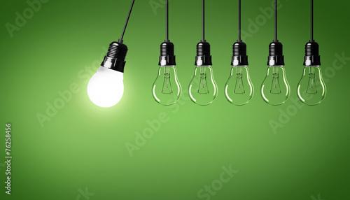Leinwanddruck Bild Energiesparlampe / Glühbirnen