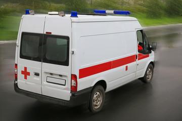 ambulance on  parking near hospital