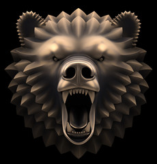 Artistic sculpture of a roaring bear's head. 3D rendered image.