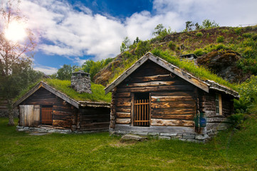 Beautiful view on ancient scandinavian village and countryside