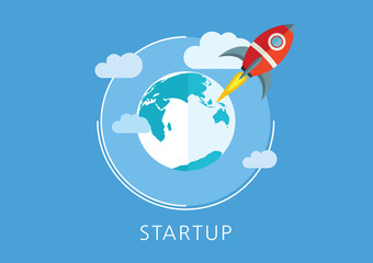 startup concept flat icon