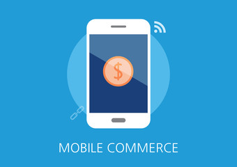 mobile commerce concept flat icon