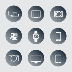 gadgets trendy round icons vector illustration, eps10