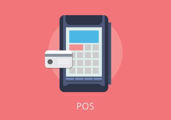 card pos concept flat icon