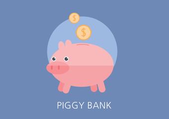 piggy bank concept flat icon