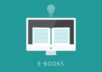 ebooks concept flat icon