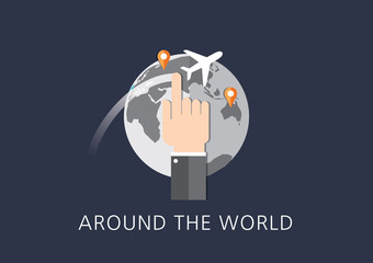 around the world concept flat icon