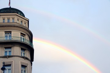 Double Rainbow and an European building after the storm