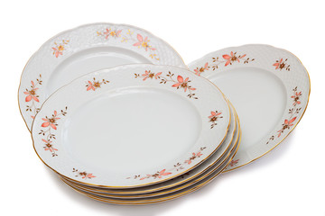 Tableware, plates on a white background.