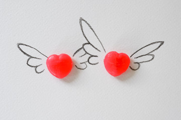 Heart flying, Valentine, Wedding