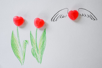 Sweet heart candy tulip background for presentation of love