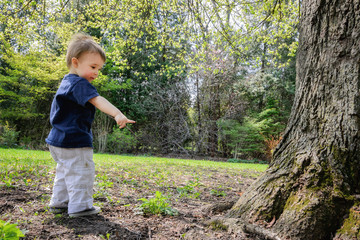 Young Boy in a Park Beside a Tree Pointing to the Ground