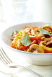 Tagliatelle pasta with mushrooms, chicken and vegetables