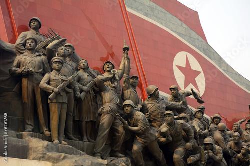 Spoed canvasdoek 2cm dik Standbeeld Mansudae Monument, Pyongyang, North-Korea