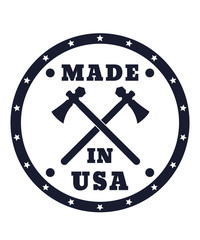 Made in USA sign with tomahawks vector illustration, eps10