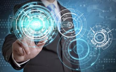 Businessman tech concept