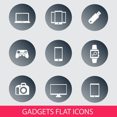 gadgets trendy round icons set 2  vector illustration, eps10