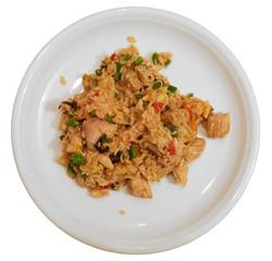 Nasi Goreng Wok Gericht mit Paprika Reis Fleisch