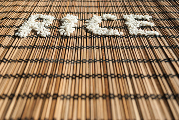 Rice sign on a wicker placemat