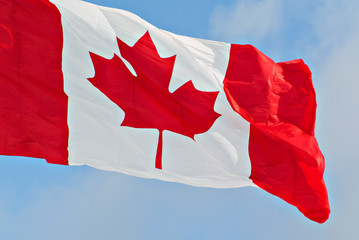 Canada Flag Flying Close up