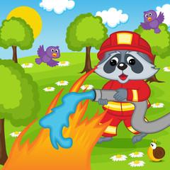 raccoon firefighter extinguishes fire in forest - eps