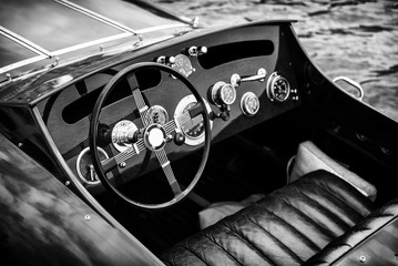 Wooden Motor Boat Dashboard - Black and White