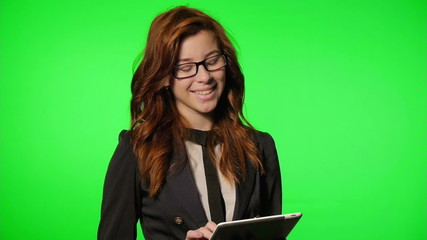 Business Woman working at the office (green screen,alpha)