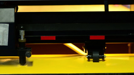 head of machine cutting stickers