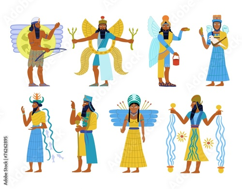 canvas print picture A set of ancient Babylonian gods and goddesses