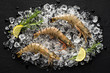 Fresh tiger shrimp on ice on a black stone table top view - 76263213