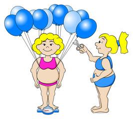 übergewichtige Frau trickst die Waage aus