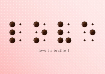 Love in braille alphabet on pink background, Vector,