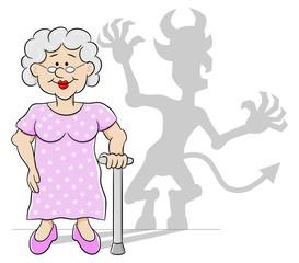 alte Frau mit Teufels Schatten