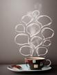 Coffee mug with hand drawn speech bubbles
