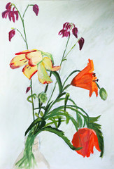 Traditional oil painting of beautiful  flowers on white