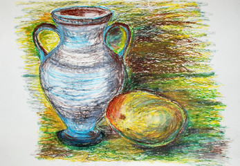 Colorful painting of an ancient vase and a fruit