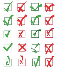 set of approved and rejected check marks
