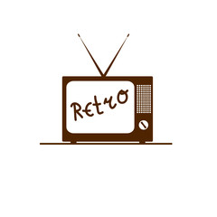 old tv in brown color vector