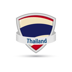 Thailand flag on the shield with a ribbon