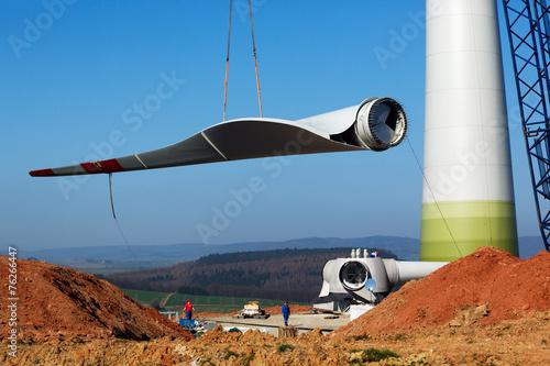 Leinwanddruck Bild Windmill construction site