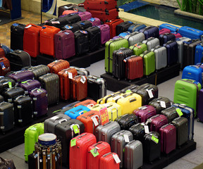 Big sale of suitcases for travel.