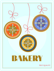Bakery with hanging three cakes - plum, marmalade, cheese, text