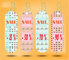 Three hanging tags with text Sale  , tags made from pattern -